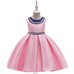 Vestidos de noche para niños online-Vestido de novia con cuentas hecho a mano de jacquard tejido para niños vestido de princesa vestido de noche traje de piano vestido de noche