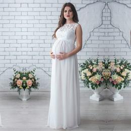 2019 vestidos de noche embarazadas Venta caliente Vestido de maternidad Embarazo Ropa Mujer Embarazada Señora Elegante Vestidos Sin mangas Fiesta de encaje Vestido de noche formal S-2xl Y19051804 rebajas vestidos de noche embarazadas