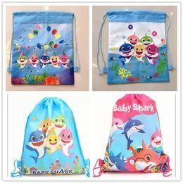 Детские акулы нетканые ткани шнурок рюкзак подарочная сумка для детей День Рождения пользу бесплатно DHL 120 шт. от