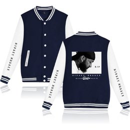 синий красный белый логотип звезды Скидка Men's jackets nipsey hussle Baseball uniform printing Single-breasted Fashion 2019 men's clothes Casual long sleeve Loose large