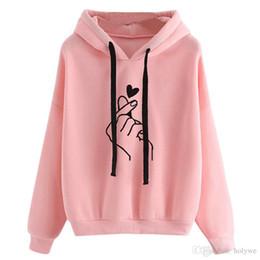 Sweats à Capuche Femmes 2019 Rose Coeur D Amour Empreinte Digitale à Capuche Cordon Cordon Manches Longues Survêtement De Printemps Streetwear