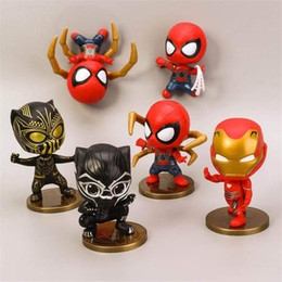 6 PC / Los 10CM The Avengers 6 Designs Spiderman Action-Figuren Spiderman-Puppe spielt Marvel Film Charakter Action-Puppe von Fabrikanten