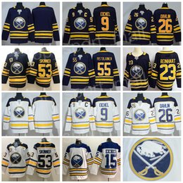 fdbf21db8 Buffalo Sabres 9 Jack Eichel Jersey Hockey 26 Rasmus Dahlin 53 Jeff Skinner  55 Rasmus Ristolainen Reinhart Okposo Blue White Men Women Kids