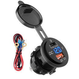 Adattatore presa di corrente per presa di corrente USB tipo C 12V / 24V impermeabile Alimentazione 2.0 QC3.0 36W con voltmetro per moto marino da voltmetro auto fornitori