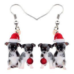 Chihuahua fascini online-Charms acrilico Natale Doppia Cane Chihuahua sfera orecchini di goccia ciondolano donne ragazze adolescenti Kids Festival Animali modo del regalo