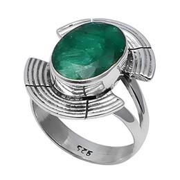 Usa 925 anelli d'argento online-NiaoZaiFei YunZaiKan Genuine Emerald Ring 925 Sterling Silver, USA Dimensioni: 8.25, 2SR0275