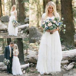 Vestidos ocidentais metade on-line-2019 Vestidos de Casamento do País Ocidental Lace Chiffon Modest V Pescoço Meia Mangas Longo Boêmio Vestidos de Noiva Plus Size Robe de mariée en dentelle