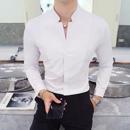 camisas delgadas para hombre de cuello alto Rebajas Boda de negocios masculina Camisa formal Otoño Invierno Stand Collar para hombre Camisas de vestir de manga larga Negro Rojo Blanco Delgado Elegante Juventud