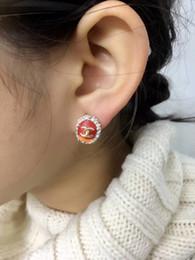 Pendientes ovalados online-Pendiente de forma ovalada de calidad superior con parte de resina roja y diamante para las mujeres y la madre. GiftPS6737A