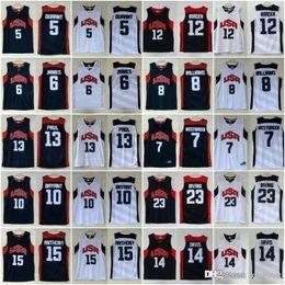jérsei americano branco azul Desconto 2012 nova equipe de sonho dez Jersey 5 Kevin Durant 10 Kobe Bryant 12 James Harden 13 Chris Paul basquete Jerseys equipe americana azul marinho branco