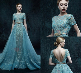 zuhair murad green gown Coupons - Dramatic Short Sash Long Zuhair Murad Evening Dress Lace Applique Beads Backless Evening Gown Custom Made Illusion Prom Dresses Quinceanera