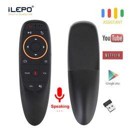 Microfone de tv on-line-G10 Voz Air Mouse 2.4Ghz Remoto Mini Wireless Keyboard Android TV giroscópio Microfone IR Remote Control G10S caixa de tv Android para