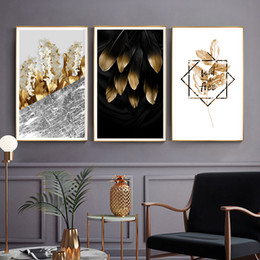 Nordic Golden Plants Flowers Leaf Canvas Painting Poster Print Unique Decor  Wall Art Pictures For Living Room Bedroom Aisle