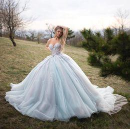 sexy 15 vestidos Desconto Princesa Vestidos Quinceanera vestido de baile Sexy querida tule luz azul longo trem 3D flores apliques 15 anos doce 16 vestidos