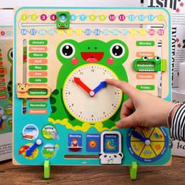 Vendita calda Bambini Bambino Orologio cognitivo Montessori Tempo di apprendimento Forniture didattiche Materia precoce Giocattoli educativi in legno per i bambini regalo da
