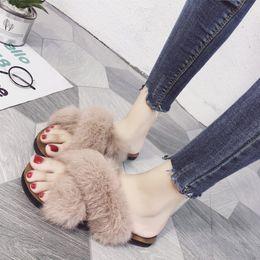 2019 пушистые шлепанцы Fluffy fur cross band slides ladies anti-skid beach sandals women 4 colors open toe flip flops mujer soft heel comfort slippers скидка пушистые шлепанцы
