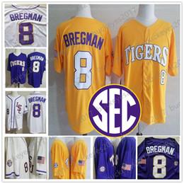 2019 бейсбольный марочный NCAA LSU Tigers # 8 Alex Bregman # 2 Vintage Houston College Бейсбол Фиолетовый Золотой Белый Желтый Мужчины Молодежный Малыш Женщины Сшитый Джерси S-4XL дешево бейсбольный марочный