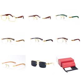 4d3d5c0285 Optical Frame Sunglasses Rimless Buffalo Horn Eyewear Wood Novelty  Eyeglasses Mens Luxury Fashion Reader Mirror Sunglasses Gafas de sol C22