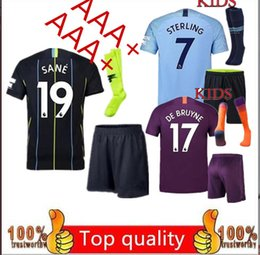 a4bb49222 Manchester city Soccer jersey kids kit 2018 19 home away KUN AGUERO BOYS  Bernardo DE BRUYNE STERLING kids shirt Child full kit with socks