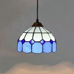 8 Pulgadas Azul Mediterráneo Lámpara Colgante Cocina Dormitorio Balcón Entrada Corredor Vidrios de Iluminación Iluminación LED Colgante desde fabricantes