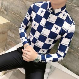 Homens de camisas xadrez azul on-line-Camisas de alta Qualidade Roupas Masculinas 2019 Primavera New Coreano Xadrez Camisa de Impressão Homem Camisa de Manga Longa Masculina Camisa Homem Azul