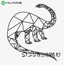custom self adhesive stickers Promo Codes - Geometric Brontosaurus Wall Stickers For Kids Room New Design Dinosaur Baby Wall Decals Custom Color Boys Gift Wall Art