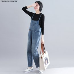 dfcc84a0701 Qiukichonson High Waist Women Plus Size Jeans Spring Pockets Ripped Loose  Overalls Ladies Casual Denim Jumpsuits Long Rompers