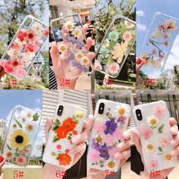étui pour téléphone huawei nexus 6p Promotion Séché De Vraies Fleurs Transparent Doux Couverture TPU Pour Coque iphone 6 6s plus Pour iphone 7 7 Plus 8 8 Plus X XR XS Max Téléphone