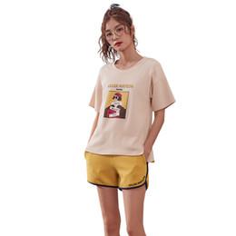 Pijamas mulheres bonitos on-line-2019 Pijamas Para As Mulheres Verão Camisola Sleepwear Manga Curta Calças Curtas Nightwear Bonito Macio Pijama Impressão Solto Homewear