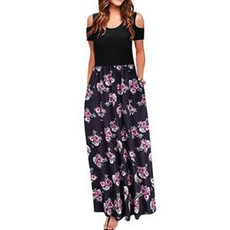 tropische kleider frauen Rabatt Women 'Cold Shoulder Pocket Blumendruck Elegantes Maxi Kurzarm Freizeitkleid Tropical Beach Vintage Maxi Floral Dress # 30