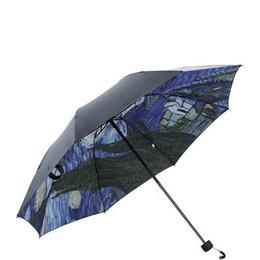 2019 guarda-chuvas femininas Van Gogh Pintura A Óleo Noite Estrelada Umbrella Ensolarado Proteção UV Chuvoso Guarda-chuva Dobrável Guarda-chuva Dobrável Navio Da Gota