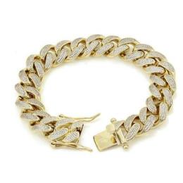 """Enlace cubano de oro de 14k para hombre. online-Pulsera para hombre ICY Miami Cuban Link 8.5 """"14k chapado en oro 15mm 18ct Lab Diamonds"""