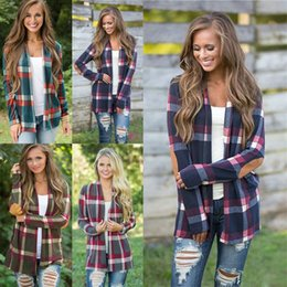 Deutschland T-Shirt Frauen Mutterschaft Tops Grid Plaid Langarm Strickjacke Top Cover Up Bluse Lose Schlanker offener Stich Strickjacke W0951212 cheap open top cover Versorgung