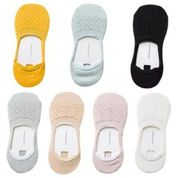 Голеностопный носок японский онлайн-Women Japanese Style Low Cut No Show Anti-Skid Silicone Short Ankle Boat Socks Braided Knitted Sweet Candy Color Cotton W77