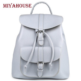 5c2c38f1910c Miyahouse Casual Women Leather Backpack For Teenage Girls Drawstring Design  PU Leather Backpack Female Small Travel Rucksack Y18110202
