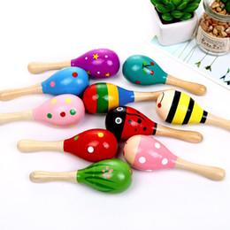2019 tipos de brinquedos para bebês 12 meses Crianças brinquedos de madeira maracas criança bebê instrumento musical chocalho maracas cabasa martelo de areia instrumento bebê brinquedo gga2617