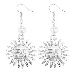 2019 boucles d'oreilles soleil Boucles d'oreilles pendantes pour femmes Pearl Earring Dangle Vintage Brincos Bijoux de mode Sun Moon Earrings promotion boucles d'oreilles soleil