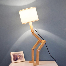 2019 computadora de escritorio Lámpara de mesa de madera Forma de robot Modern Lovely 220 V E27 Luz de lectura Flexible ajustable Creative Desktop Lamps S3 computadora de escritorio baratos