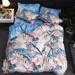 2019 lavage à l'encre ensemble de literie encre et lavis paysage bleu couvre-lit housse de couette enfants double reine literie king size artiste linge de lit taie d'oreiller lit shee promotion lavage à l'encre