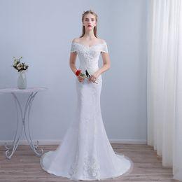 2019 elfenbein dünnes hochzeitskleid Modest Off The Shoulder Mermaid Brautkleid mit kurzen Ärmeln Spitze Appliqued Slim Brautkleider Weiß Elfenbein