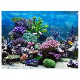 backdrop pvc Promo Codes - PVC Adhesive Underwater Coral Aquarium Fish Background Poster Backdrop Decoration Paper