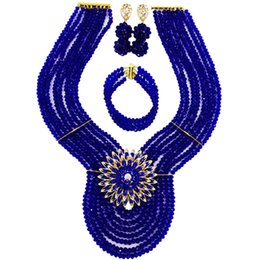 Boucles d'oreilles bleues en Ligne-Mode Royal Bleu Perles Africaines Ensemble De Bijoux En Cristal De Perles Nigérian Collier De Mariage Bracelet Boucles D'oreilles Ensembles 8WD04