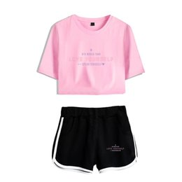 girl s charms Coupons - New Summer Cool Fashion Girl BTS T-Shirt Print Women High Quality Casual Charm BTS T-Shirt + Shorts Two-Piece Set