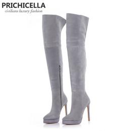 Stivali al ginocchio grigio scamosciato online-PRICHICELLA Tacco a spillo alto 14 cm con plateau in camoscio grigio, stivali alti sopra la coscia, taglia34-42