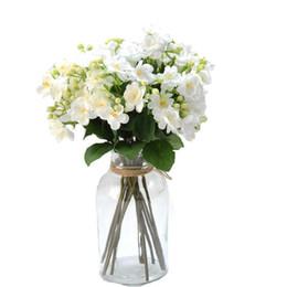 Piante da fiore Artificial Gardenia Fiori di gelsomino Camelia Fiore di seta con verde per la decorazione del giardino di casa per matrimoni da