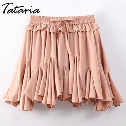 Argentina Faldas de gasa para mujer Cintura alta de verano para mujer Minifalda de línea 2018 Mini faldas sexy Falda escolar plisada para mujer MX190729 supplier high school sexy Suministro