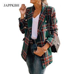 Mulheres jaqueta longa tweed on-line-Jappkbh Xadrez Do Vintage Jaqueta de Tweed Mulheres Nova Primavera Streetwear Double Breasted Bolso Casaco de Manga Longa Casaco Veste Femme Modis J190518