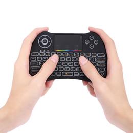 2019 touchpad de teclado sem fio para pc H9 2.4 GHz Sem Fio Mini Backlight Teclado Função Com Suporte Touchpad RGB Versão Inglês Para Telefone PC TV Box TV Inteligente touchpad de teclado sem fio para pc barato