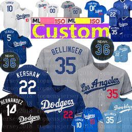 Los Angeles Custom Dodgers Camisola 35 Cody Bellinger 22 Clayton Kershaw 14 Enrique Hernandez 26 Perseguição Utley 74 Jansen 27 Kemp 16 Ethier Hill de