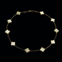 Ágata foliar on-line-Shell ágata multicolor borda de pedra de contas de quatro folhas do trevo colar banhado a cobre de dez flor curto colar de jóias amor